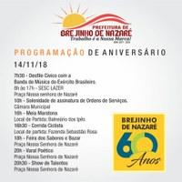 No dia 14/11 (quarta-feira), Brejinho de Nazaré completa 60 anos!