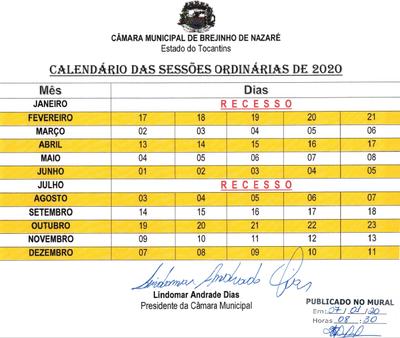 Calendário Sessões Ordinárias 2020